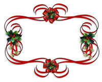 Christmas Border red ribbons Royalty Free Stock Photography
