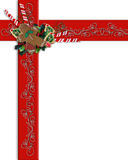 Christmas Border red ribbons and treats. Image and illustration Composition Christmas border design with red ribbons, christmas cookies and candy canes. Copy stock illustration