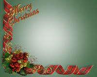 Christmas Border Ribbons  Stock Photo