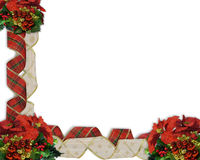 Christmas Border Ribbons. Image and illustration composition for Christmas Border or frame with ribbons, ornaments and copy space Stock Images