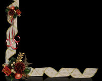 Christmas Border Ribbons on black Stock Image