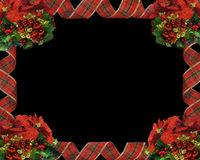 Christmas Border Ribbons on black. Image and illustration composition for Christmas Border or frame with ribbons, ornaments and copy space Stock Photography