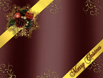 Christmas Border Ribbons burgundy. Image and illustration Composition Christmas ribbons border design for card or background with copy space Royalty Free Stock Photography