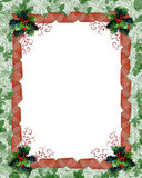 Christmas border ribbons and holly. Image and illustration composition for Christmas card, party invitation, Photo-card template,  Border or frame with holly Stock Photography