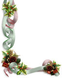 Christmas Border ribbons and holly Royalty Free Stock Photos