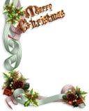 Christmas Border ribbons and holly Stock Photography