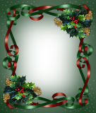Christmas Border Ribbons and Holly Stock Photos