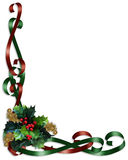 Christmas Border Ribbons and Holly Stock Image