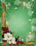 Christmas border ribbons and poinsettias. Image and Illustration composition for elegant Christmas holiday background, border, greeting card, invitation template Stock Photos