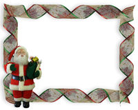 Christmas Border Ribbons and Santa Royalty Free Stock Image