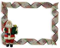 Christmas Border Ribbons and Santa Royalty Free Stock Image
