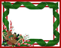 Christmas border ribbons and treats. Image and Illustration composition for Christmas holiday background, border, frame or template with  ornaments, gingerbread Stock Image