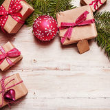 Christmas border on rustic wood Royalty Free Stock Photography