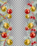 Christmas border set. With garland and candy vector image royalty free illustration