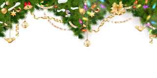 Christmas Border Set. EPS 10. Christmas Border Set - tree branches with golden baubles, stars, snowflakes isolated on white. EPS 10 vector file included Stock Images