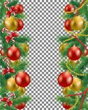 Christmas border set. With garland and candy vector image vector illustration