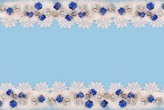 Christmas border with snow Royalty Free Stock Photos