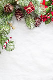 Christmas Border on Snow Stock Photo
