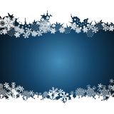 Christmas border, snowflake design background. Vector stock illustration