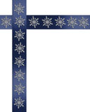 Christmas border snowflakes. Image and illustration composition of snowflakes on blue satin ribbons for Hanukkah or Christmas holiday simple background, border royalty free illustration