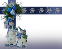 Christmas border Snowman background Stock Photos