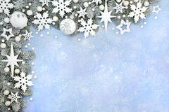Christmas Border with Stars Baubles Fir and Snow