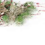 Christmas Border with Stars under Snow Royalty Free Stock Image