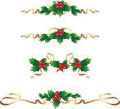 Christmas border /text dividers set. Cristmas text dividers set in red green and gold Stock Photography