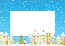 Christmas border with a toy town Royalty Free Stock Photography