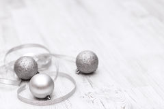 Christmas border with traditional decorations and silver balls. Space for copy royalty free stock photography