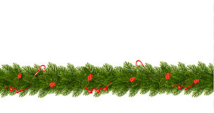 Christmas Border with tree branches. Horizontal banner Royalty Free Stock Images