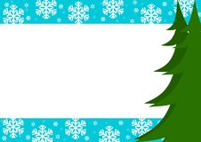 Christmas border with trees and snowflakes stock photo