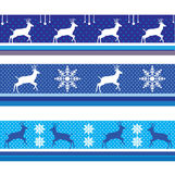 CHRISTMAS Reindeer BORDER VECTOR BLUE. CHRISTMAS BORDER VECTOR PACK BLUE 2019. Artistic, Vector - Reindeer snowflakes Border. Decorative Nordic ornament. Winter vector illustration