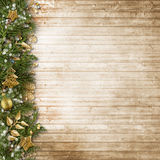 Christmas border with vintage decoration on wooden board. Royalty Free Stock Photography