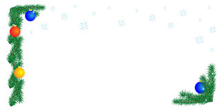 Christmas border on white background. Horizontal orientation. Vector illustration royalty free illustration