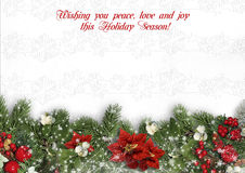 Christmas border on white background with holly,firtree,víscum. Royalty Free Stock Images