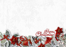 Christmas border on white background with snowy branches,poinsettia,holly royalty free illustration