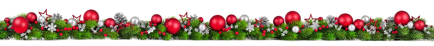 Christmas border on white, extra wide Royalty Free Stock Photo