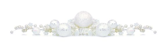 Christmas border of white ornaments and branches isolated Royalty Free Stock Photo