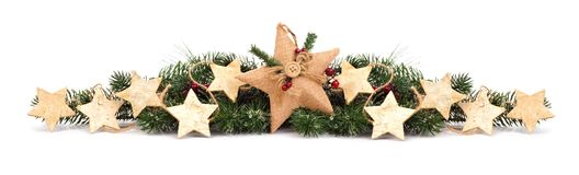 Free Christmas Border With Branches And Star Ornaments On White Stock Photography - 102044782