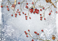 Christmas Border With Fir Branches And Gold Decorations Royalty Free Stock Photos
