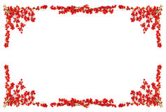 Christmas Border With Red Berries Royalty Free Stock Images
