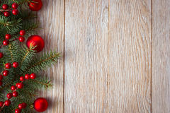 Christmas border. On wooden background Stock Images