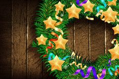 Christmas border from christmas wreath. Useful as christmas decoration. New year background 2020. Vector illustration royalty free illustration