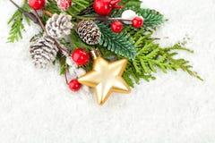 Christmas Border with Xmas Decor, Green Fir Twig Royalty Free Stock Photo