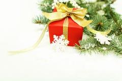 Christmas border - Xmas tree and snowflake Stock Images