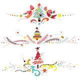 Christmas Borders. Set of three Christmas ornaments, especially suitable to use as dividers or borders Stock Photography