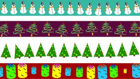 Christmas borders. Set of four decorative Christmas page border and banner designs Stock Image