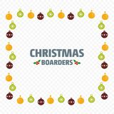 Christmas borders with balls vector. For web design and application interface, also useful for infographics. Vector illustration Royalty Free Stock Image