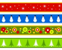 Christmas Borders or Banners. A clip art illustration featuring your choice of 4 different Christmas themed banners or borders for decorative use. Snowflakes Royalty Free Stock Photography
